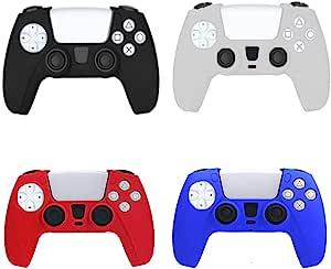 4 件装防滑硅胶皮套适用于索尼 Playstation 5 PS5 DualSense 控制器
