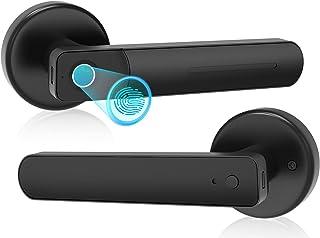 EFFUN 指纹门锁 带把手智能锁 智能门把手 智能门把手 无钥匙门锁 带手柄 适用于家庭/公寓/办公室