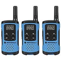 Motorola T100 Talkabout Radio,2 只装T100TP T100TP-3 包 T100TP 3 Pack 霓虹蓝色