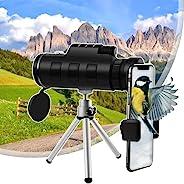 40X60 智能手机单筒望远镜,带支架和三脚架,高清单筒望远镜,带夜视,双焦点 BAK4 棱镜,适合成人观鸟露营野生动物徒步旅行(*)
