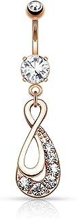 Pierced Owl 镶嵌水晶无限吊坠肚脐环