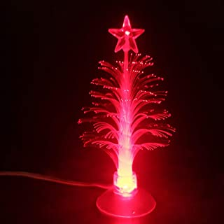 USB 供电圣诞树带 7 种颜色变化光纤灯圣诞树儿童圣诞礼物夜灯派对家居装饰5 英寸