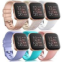 6 只装运动腕带与 Fitbit Versa 2 / Fitbit Versa / Versa Lite / Versa SE 兼容,经典软硅胶替换腕带,适用于 Fitbit Versa 智能手表女士男士(6 只装 B,小号)