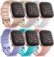 6 只装运动腕带与 Fitbit Versa 2 / Fitbit Versa / Versa Lite / Versa SE 兼容,经典软硅胶替换腕带,适用于 Fitbit Versa 智能手表女士男士(6 只装 B,
