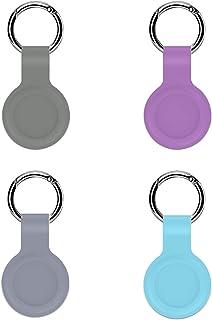 FixCracked 4 件装 Airtags 2021 保护套,带钥匙链的硅胶追踪器支架,便携式保护套,用于航空标签,易于连接(灰色、紫色、薰衣草色、蓝色)