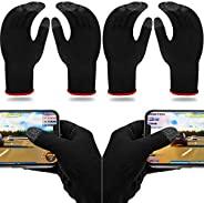 4 双游戏手套,适用于游戏手机游戏控制器手指手套套装,防汗透气触摸手指手套银色纤维材料适用于手机游戏 PUBG