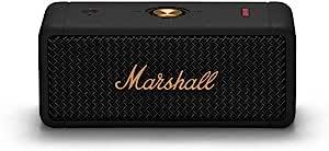 Marshall 无线便携式防水扬声器,Emberton 黑色和黄铜,20 小时连续播放,IPX7 防水,小号,快充电