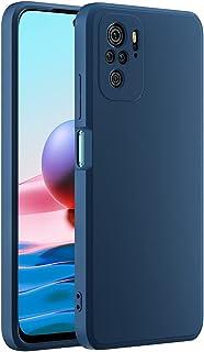 Cresee 兼容小米 Redmi Note 10 手机壳,薄硅胶套,带超细纤维内部摄像头保护,防刮超薄贴合弹性手机壳,适用于 Redmi Note 10 4G - 蓝色