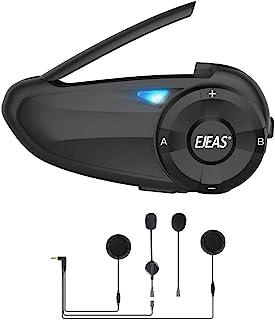 摩托车蓝牙耳机 EJEAS Q7 头盔对讲通信系统快速配对 7 名骑手防水降噪 FM 适用于滑雪远足