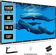 Towond 4K 16:9 高清可折叠防折痕便携式户外投影仪屏幕,防皱电影屏幕,适用于室外室内后院,支持前后投影,白色,120 英寸(约 304.8 厘米)