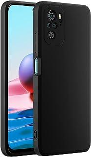 Cresee 兼容小米 Redmi Note 10 手机壳,薄硅胶套,带超细纤维内部摄像头保护,防刮超薄贴合弹性手机壳,适用于 Redmi Note 10 4G - 黑色
