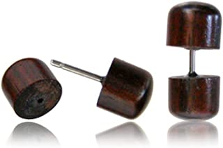 Earth Accessories *木制假量对小耳钉 - 带*钢