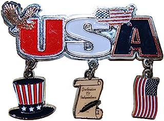 美国爱国美国主题悬挂磁铁 - 印有美国国旗、秃鹰和独立宣言