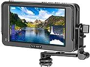 Neewer F400 5.7 英寸摄像头现场监视器全高清 1920x1080 IPS 4K HDMI DC 输入,RGB 波形/矢量范围,视频峰值对焦辅助倾斜臂适用于 DSLR 相机和万向架(不含电池)