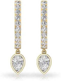 0.55 CT SGL 认证钻石小环夹式耳环,梨形新娘婚礼耳坠,可叠放办公室服装箍耳环礼品,14K 黄金,一对