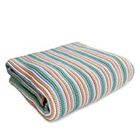 Sonnenstrick 新生儿褥子/婴儿被/保暖毯/针织毯使用 100% 有机棉 kba 制作,德国制造 80 x 80 厘米,螺纹 grün