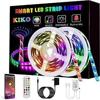 KIKO LED 条形灯,智能变色绳灯 33.8 英尺/10 米 SMD 5050 RGB 灯带,带蓝牙控制器,同步音乐,适用于电视、卧室、派对和家居装饰(2x12 英尺)