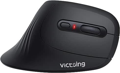 VicTsing 无线人体工程学鼠标,垂直鼠标 - 减少手腕压力,3 个可调节 DPI / 6 按钮/舒适形状/电池寿命长,安静光学电脑鼠标,适用于笔记本电脑和台式电脑