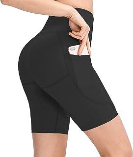 Fezodo 女式 20.32 厘米/12.7 厘米高腰瑜伽短裤锻炼跑步压缩锻炼骑行短裤带侧口袋