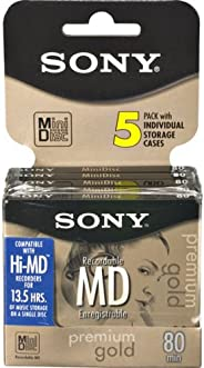 Sony 5MDW80PL 80 分钟 MiniDisc MD 高级金(5 件装)(制造商已停产)