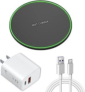无线充电器黑色,Qi 认证 15W 快速无线充电器兼容 iPhone,Plus PD20W Type-C+USB 接口充电器
