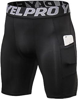 男式运动压缩短裤,高性能打底跑步短裤,带口袋