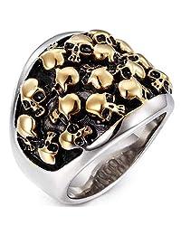Jude Jewelers 不锈钢死亡哥特式骷髅骑手戒指 金色