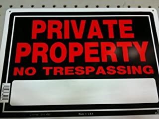 Hillman 840147 私人财产无侵入标志带填入空间,黑色和红色铝金属,25.4 x 35.5 厘米 1 件