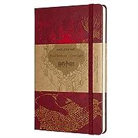 Moleskine 哈利·波特限量版筆記本,帶掠奪者地圖主題圖形和細節的橫格筆記本,精裝封皮,大尺寸13 x 21厘米,紅色,240頁