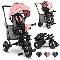 Lionelo Tris 三轮车适合1岁以上的儿童车,带可转向推杆,婴儿车可折叠滑轮儿童自行车配件儿童三轮车适用于男孩和女孩滑块 Candy Rose