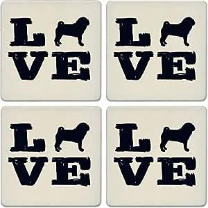 """杯垫吸水杯垫(4 件套) Pet Love Pug 4-1/4"""" LJ0201"""