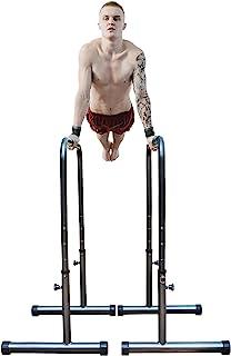 Quebuene 4 级可调节蘸水架 660 磅多功能浸水站杆,适用于家庭健身房,身体压平行杆,适用于全身锻炼