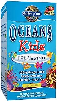 Garden of Life 生命花园 Oceans儿童DHA鱼肝油咀嚼软凝胶 浆果酸橙 Omega-3 DHA EPA 维生素A D3无糖鱼油补充剂 120粒