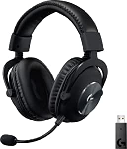 Logitech G PRO X kabelloses Lightspeed PC-kompatibles Gaming-Headset mit Blue VOICE Mikrofontechnologie, 50 mm PRO-G Lautsprecher, DTS Headphone: X 2.0 Surround Sound, Memory-Foam-Polsterung