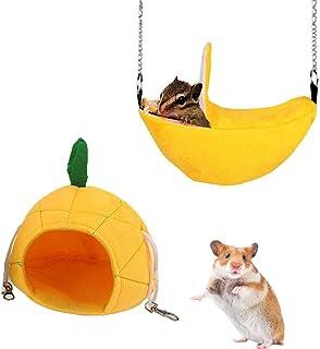 IAIGOGO 仓鼠床 小动物水果吊床菠萝香蕉巢 适用于豚鼠刺猬松鼠 Chinchilla 蜂蜜滑翔机 玩耍和*