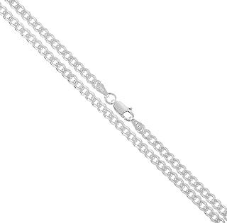Florence Jewelers 925 纯银 男式意大利 3.5 毫米钻石切割锁链,尺寸 40.64 厘米 - 76.20 厘米 - 意大利制造