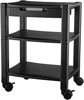 Kantek 3-Shelf Desk Side Mobile Printer Stand with Organizing Drawer, 17 x 13.25 x 24.5 Inches, Black (PS540)
