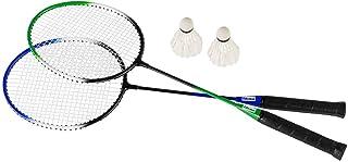 Idena 40190 40190 - 羽毛球套装,带 2 个球拍和 2 个羽毛球,装在一个实用的手提袋中,适合儿童和成人的运动游戏,非常适合夏季,适用于花园、公园或海滩,多色