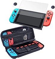 CamKix 存储和保护套件兼容 Nintendo Switch:硬质尼龙外壳,带 20 个游戏卡插件,钢化玻璃屏幕保护膜,拇指抓握套,清洁布