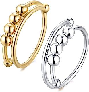 2 件女士* Fidget Ring 纯银*戒指带珠转环抗*戒指可调节时尚戒指精致珠宝可爱*戒指 适合青少年女孩