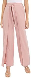 Bar III 女式垂褶系带腰礼服裤粉色 L 码