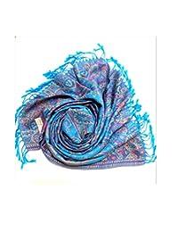 蓝色 – 女式羊绒披肩双面佩斯利 – 高级奢华柔软丝绸围巾带流苏温暖夏季秋季冬季春天长款大号 – 新娘圣诞派对晚礼服带免费礼品