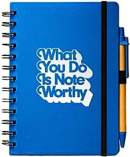 Cheersville 环保日记和笔套装 - 螺旋装订笔记本和麦草圆珠笔 - 您做的是值得注意的
