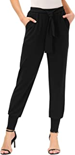 GRACE KARIN 女式休闲裤高腰自系带紧身长裤带口袋
