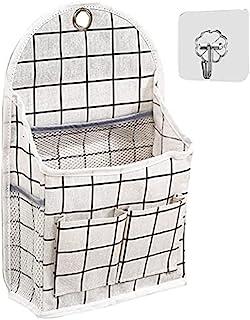 壁挂式储物袋,防水门上衣柜收纳袋挂袋亚麻棉收纳箱容器适用于卧室、浴室、厨房、办公室(黑色网格)