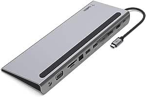 Belkin 贝尔金 USB-C 集线器,11合1多端口适配器,带 4K HDMI,DisplayPort,VGA,USB-C 和100 W,用于连接设备,3X USB A,千兆以太网,SD,MicroSD,3.5 毫米插孔