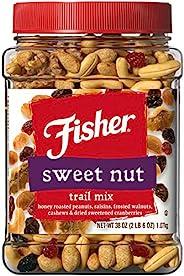 Fisher Snack Sweet Nut Trail Mix, 38 Oz, Honey Roasted Peanuts, Raisins, Frosted Walnuts, Cashews, Dried Sweet
