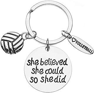 Infinity 系列排球 She Believed She Could So She Did 钥匙扣,女孩排球首饰,排球运动员的完美排球礼物