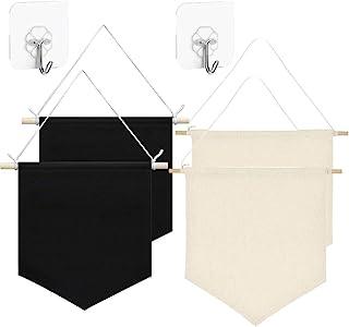 4 件墙壁展示横幅空白墙壁帆布横幅珐琅海报横幅用于展示、按钮和标签收藏,带 4 个粘合挂钩
