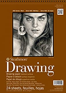 """Strathmore 400-1 400 Series Drawing Pad, Medium Surface, 4""""x6"""" Wire Bound, 24 Sheets"""